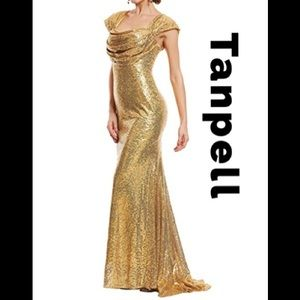 NWT Mermaid Train Gold Sequin Evening Gown